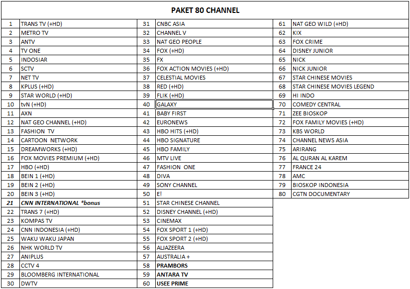 Paket USeeTV 80 Channel